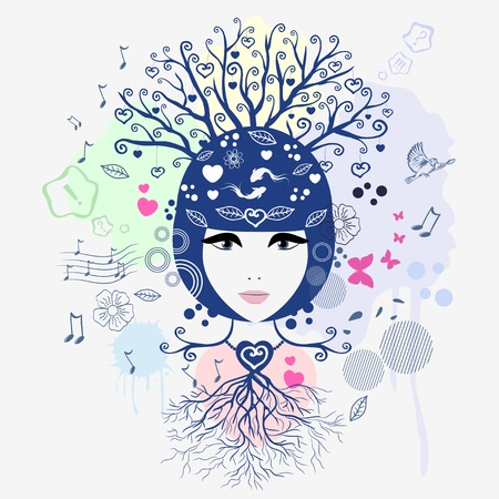 abstract portrait: Vector illustration of an abstract portrait of a girl Illustration