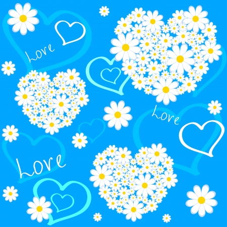 illustration seamless background flowers in heart shape