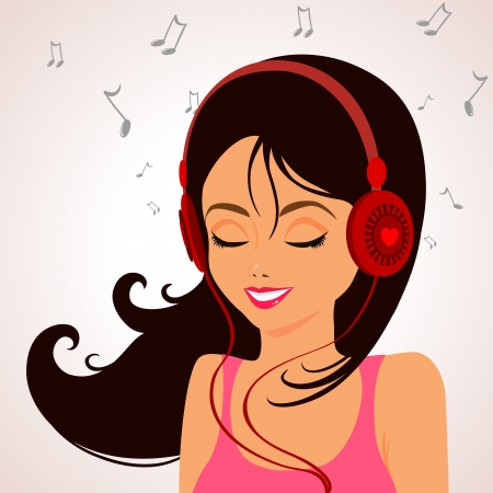 girl music Stock Vector - 18198628