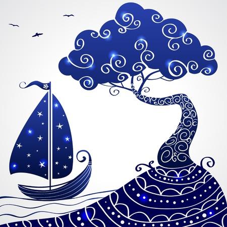 cielo y mar: �rbol barco Vectores