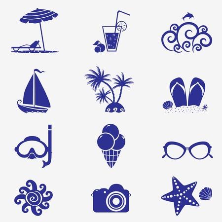 estrella de mar: iconos de verano azul Vectores