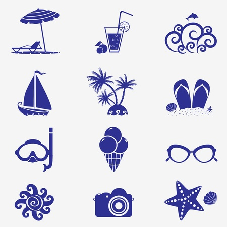 summer icons blue Stock Vector - 19568668