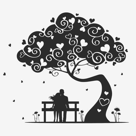 siluetas de enamorados: árbol de amor