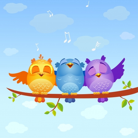 owl cartoon: Birds sing Stock Photo