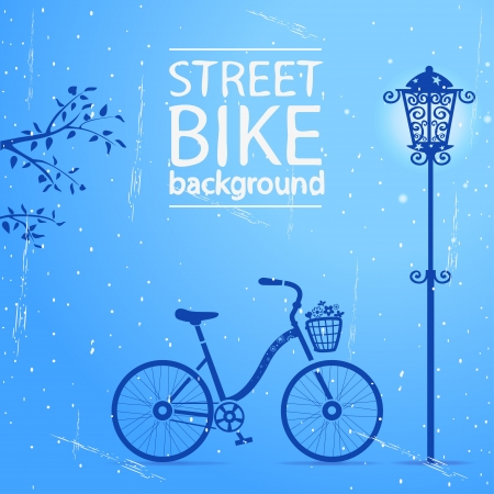 illustration silhouette of a bicycle and a street lamp