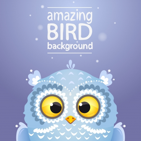 Illustration cute white owl Vector