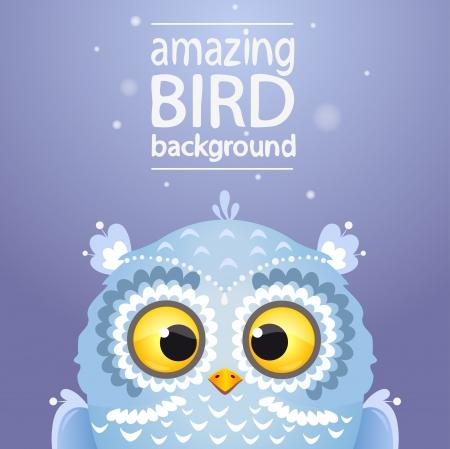 Illustration cute white owl