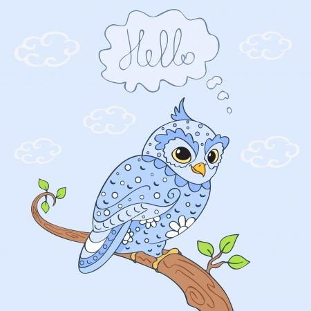 owl hello Vector