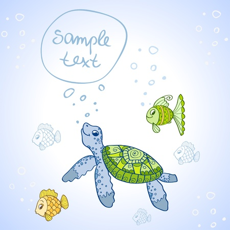 Turtle and Fish Illustration