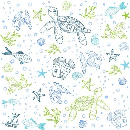 Schildpad en vissen naadloze