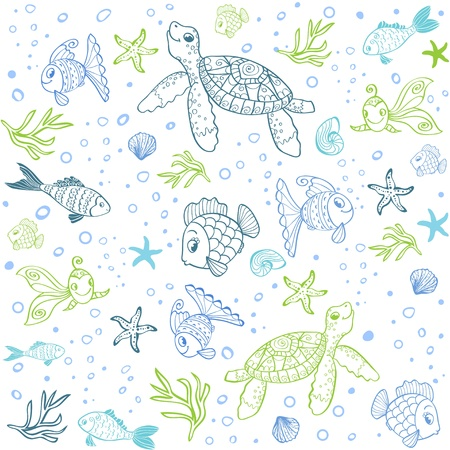 Turtle and Fish seamless Vector