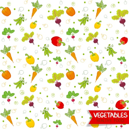 Seamless wallpaper useful vegetables pattern Vector
