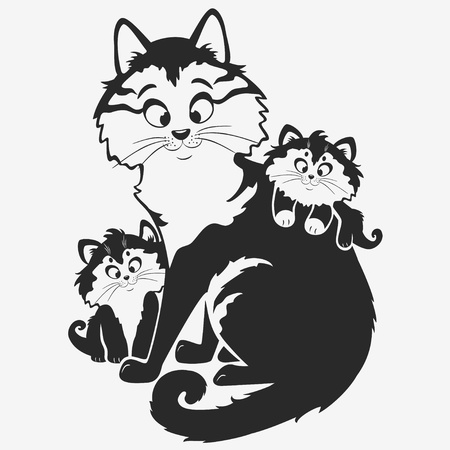 small group of animal: black and white illustration silhouette cute cat with kittens