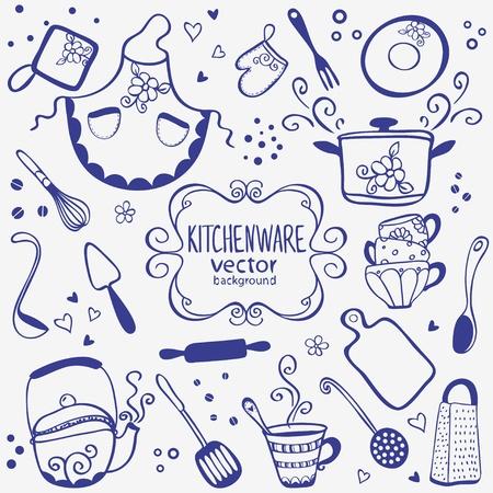 ustensiles de cuisine: silhouette de cuisine collection de griffonnages Illustration