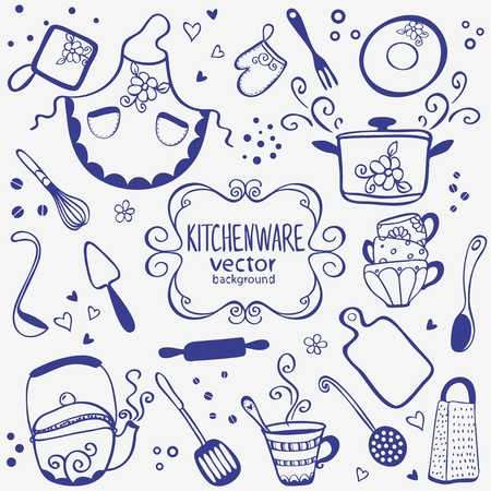 silhouette of kitchenware doodles collection
