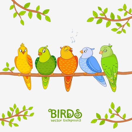 birdsong: illustration of funny characters cute parrot