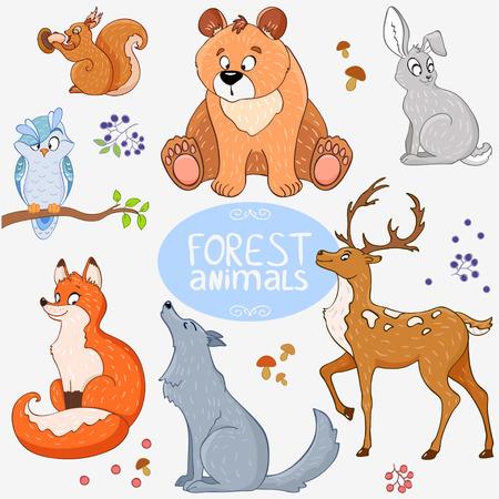 かわいい動物の森のイラスト セット  イラスト・ベクター素材