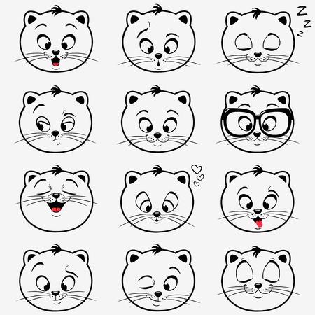 silueta gato: ilustraci�n de divertidos gatitos emoticonos
