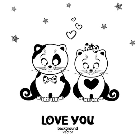 black and white illustration silhouette cute love cats