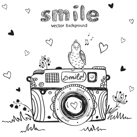 illustration sketch vintage retro photo camera Vector