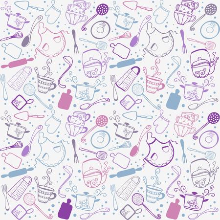 주방 용품의 낙서 컬렉션의 실루엣 일러스트