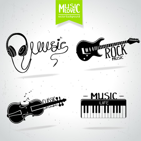 earphone: illustration set of music icons