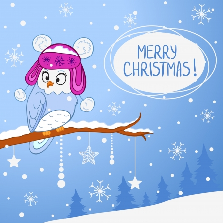 wooden hat: illustration for Christmas funny owl in hat sitting on a branch