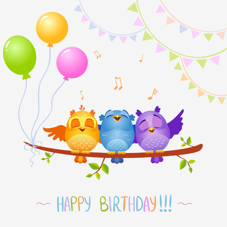 illustration of funny characters birds sing Happy Birthday