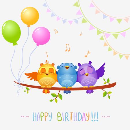 compleanno: illustrazione di personaggi buffi uccelli cantare Buon Compleanno Vettoriali