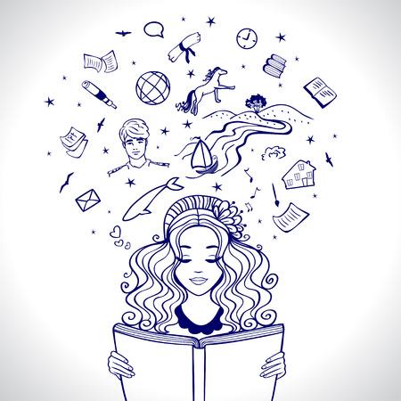 Meisje leest een boek en het verbeelden van de Story