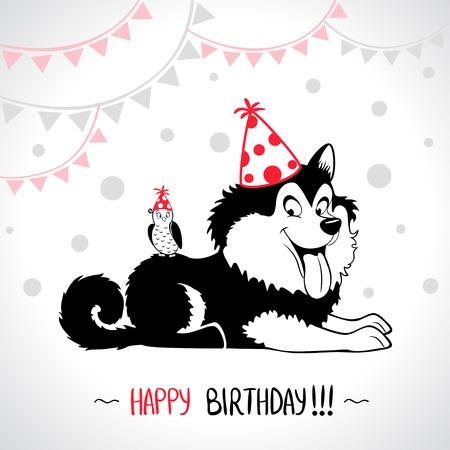 Illustration Der Niedlichen Katzchen Silhouette Karte Alles Gute Zum