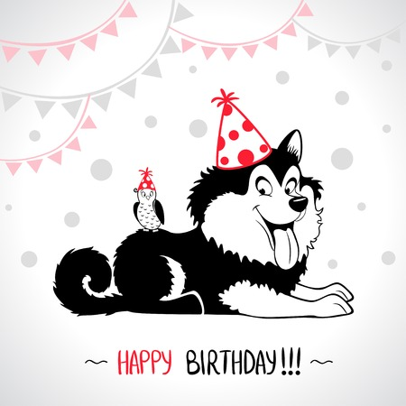 illustration of funny silhouette dog Happy Birthday Illustration