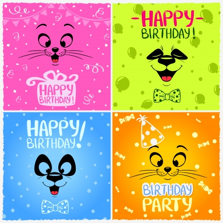 Illustration with funny emoticon happy birthday Иллюстрация