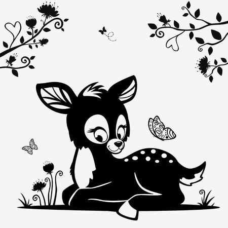 귀여운 검은 색과 흰색 문자 새끼 사슴의 실루엣 일러스트