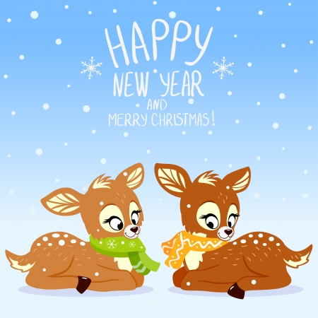 illustration for Christmas and New Year cute deer Vector