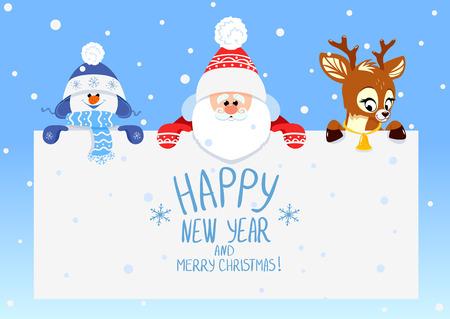 holiday symbol: Congratulazione con Natale e Capodanno Babbo Natale con cervi e pupazzo di neve