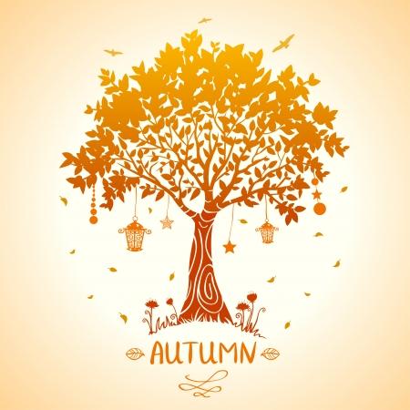 illustration of silhouette tale autumn tree