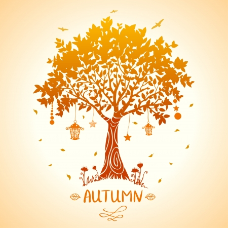fall landscape: illustration of silhouette tale autumn tree