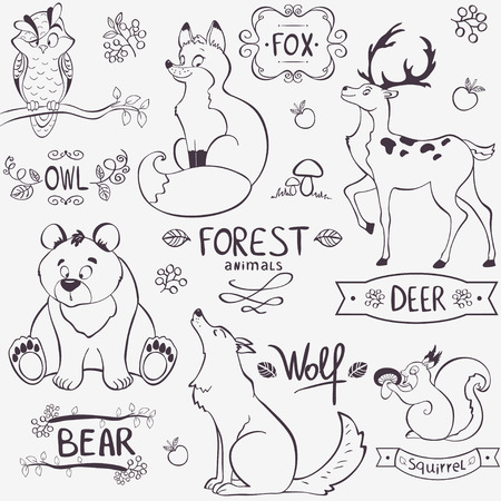 Illustration set of cute animals of the forest with design names Иллюстрация