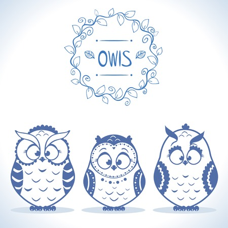illustration silhouette funny owls