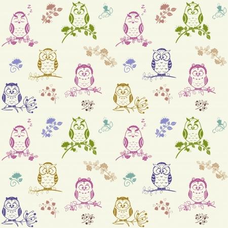 Illustratie naadloze patroon Silhouet leuke uilen
