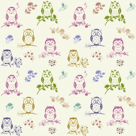 Illustration seamless pattern Silhouette cute owls Vector