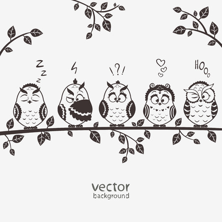 illustration of five silhouette funny emoticon owls sitting on a branch Ilustracja