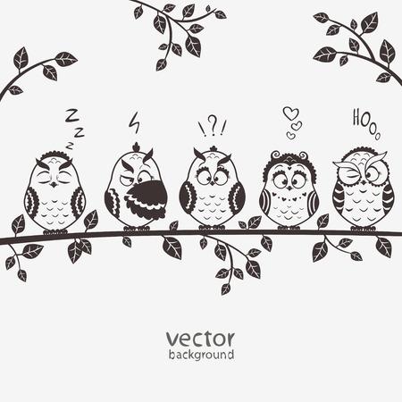 sowa: sylwetka ilustracja z pięciu emotikon śmieszne sowy siedzącej na gałęzi