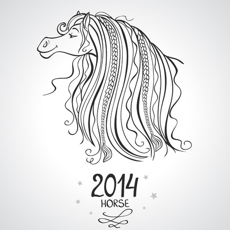 black and white silhouette horse symbol of the new year Vector