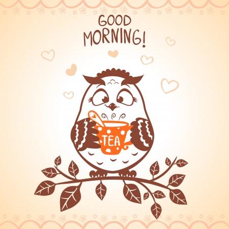 シルエット朝面白いフクロウのイラスト