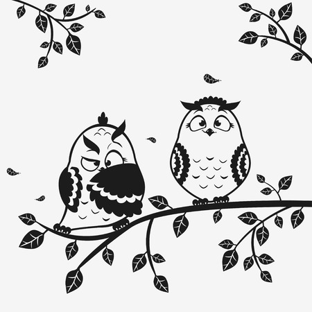 illustration black and white of silhouette funny owls Иллюстрация