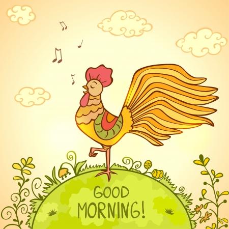 歌う朝のイラストを美しいおんどり