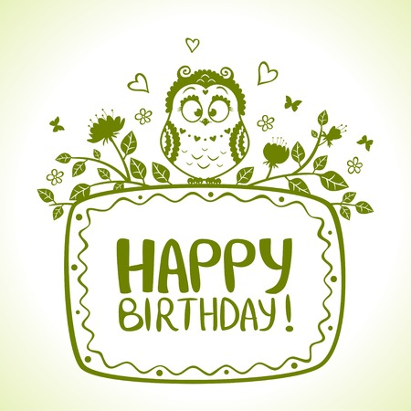 illustration of funny characters silhouette owl Happy Birthday Vector