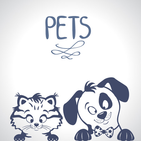 lines: illustration silhouette character cute kitten and dog